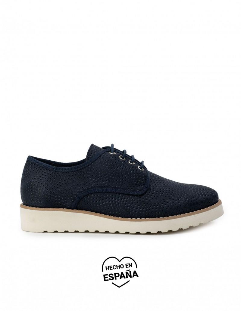 NATURE Zapatos Cordones Piel Azul Marino
