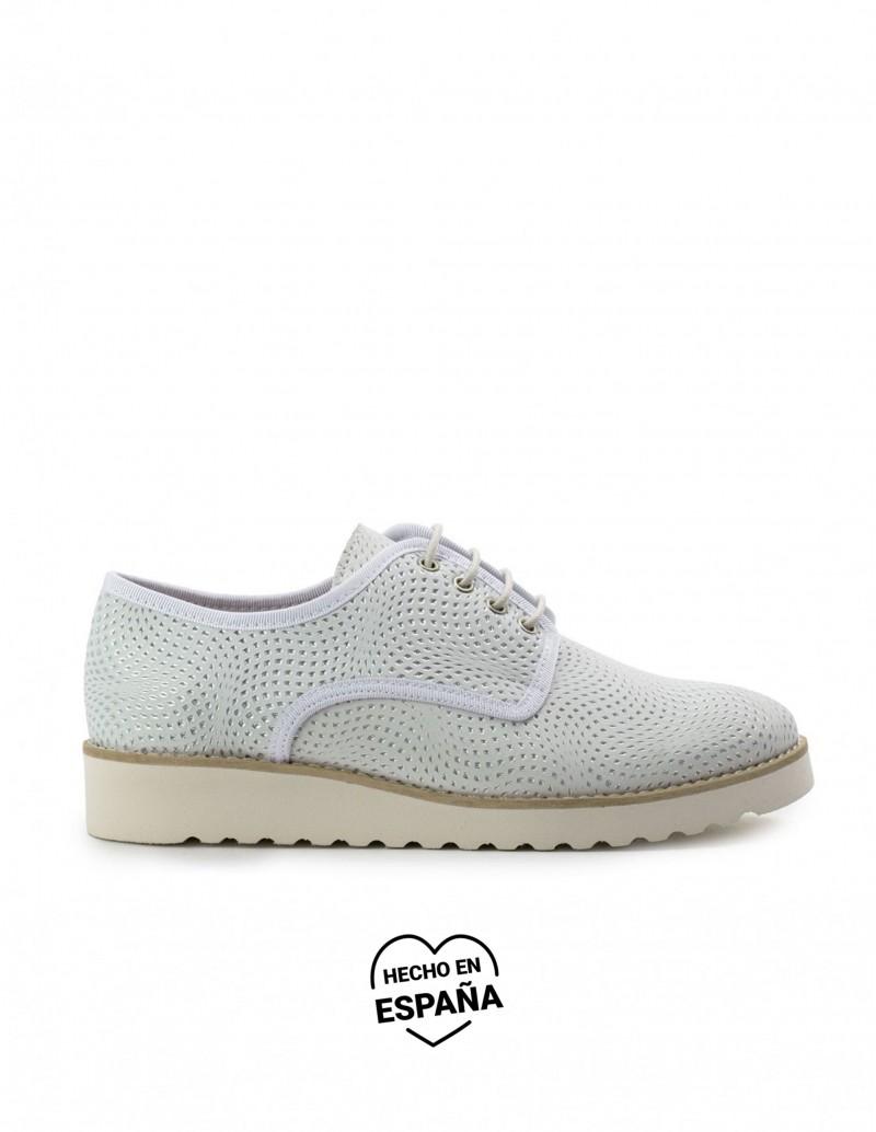 NATURE Zapatos Cordones Piel Plata