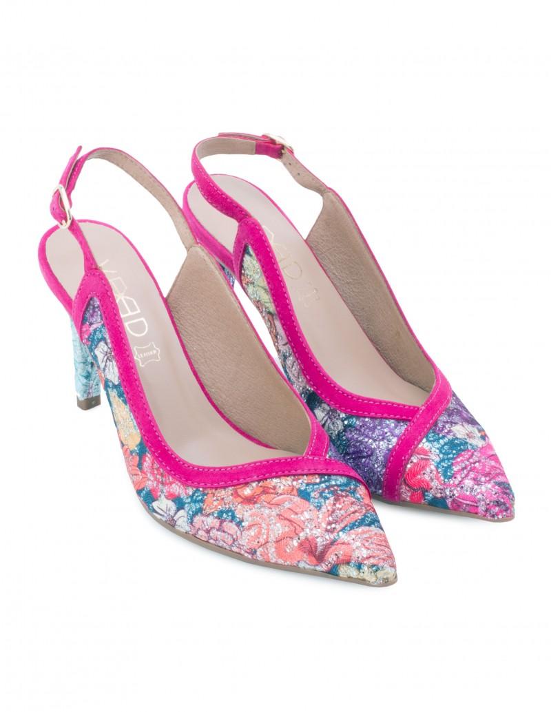 zapatos salon destalonados fucsia