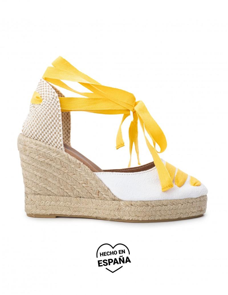 Alpargatas Cuña Blancas Cintas Amarillas