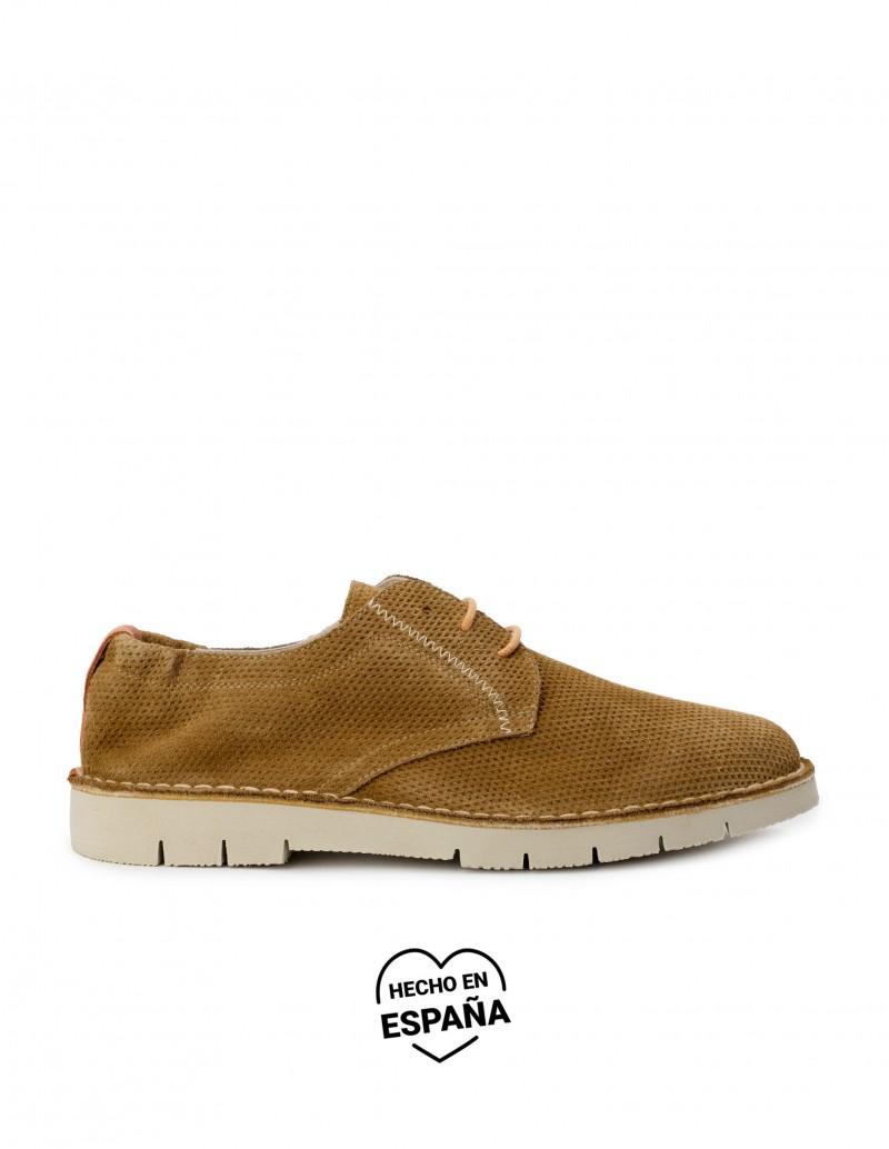 Zapatos Cordones Verano Serraje Marrón