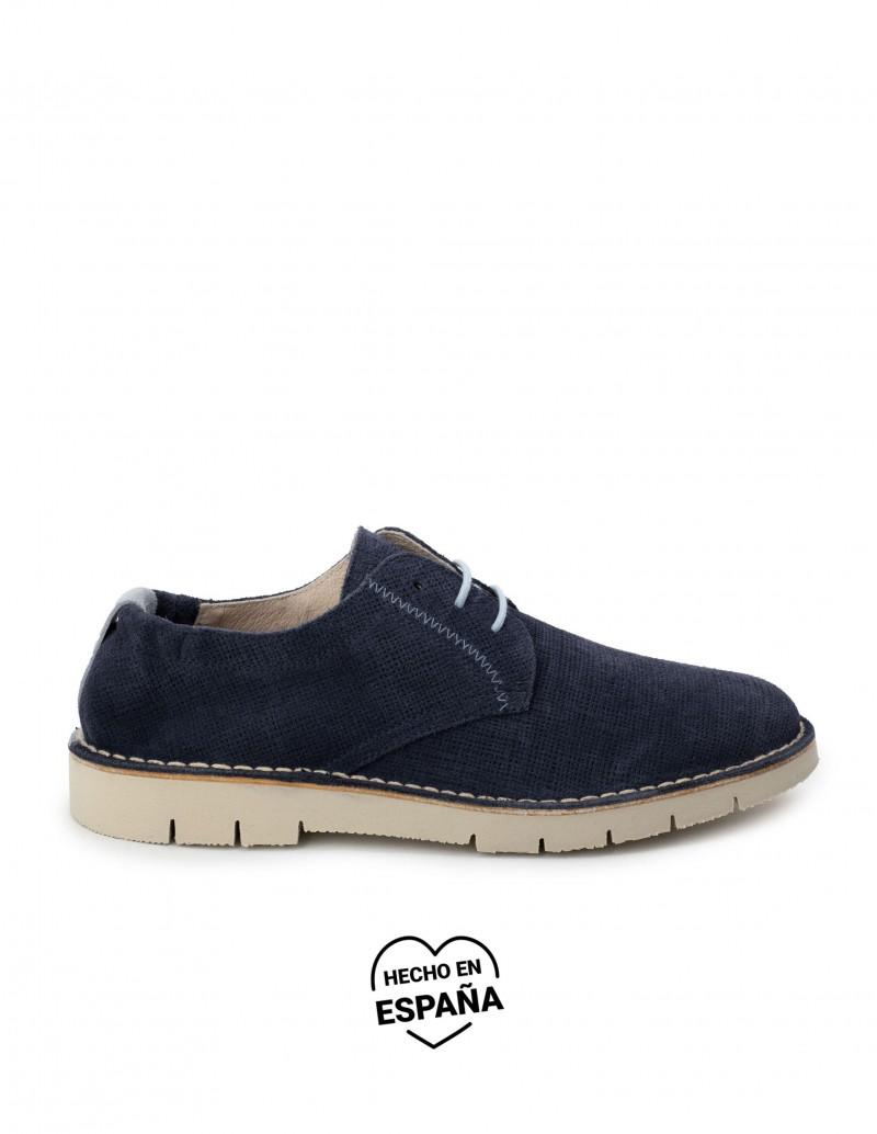 Zapatos Cordones Verano Serraje Azul