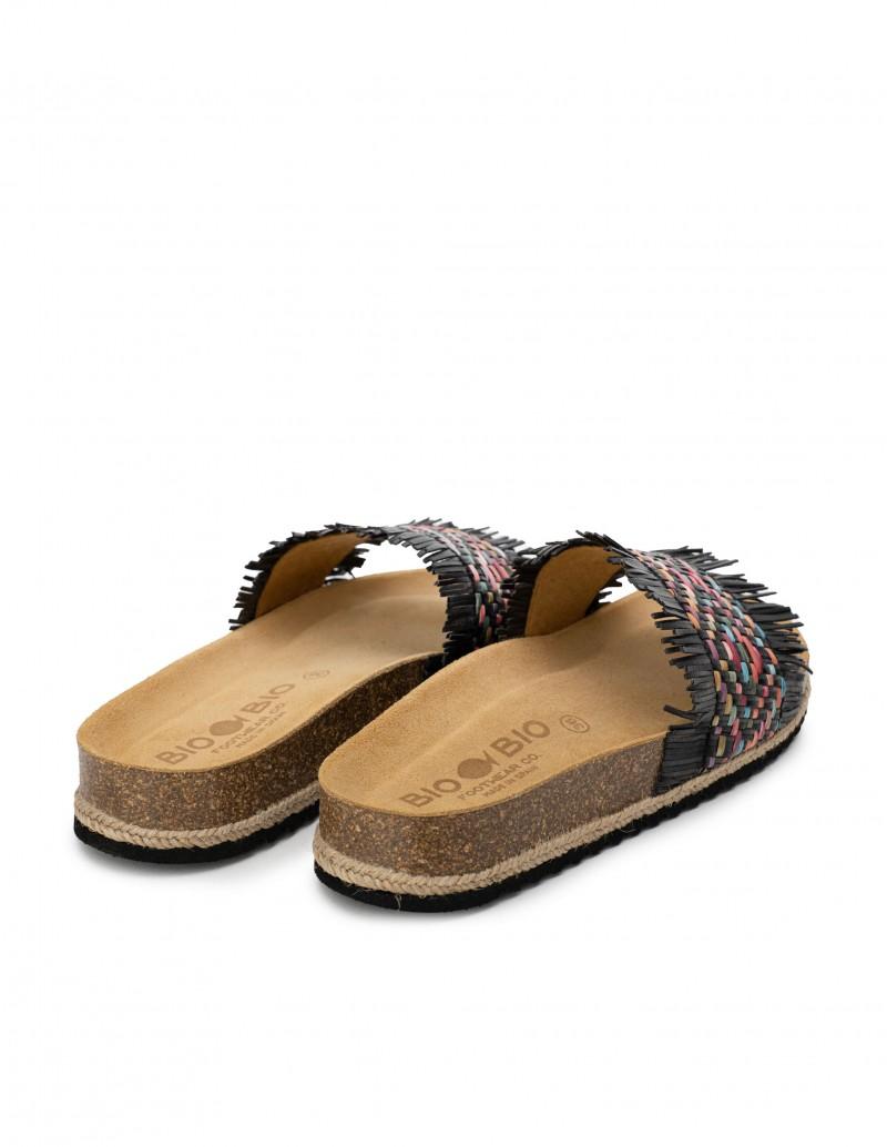 Sandalias Pala Flecos Negras