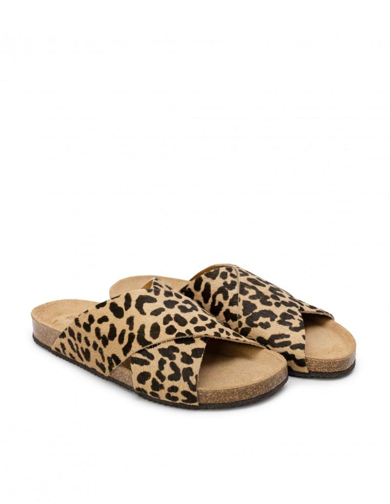 Sandalias Leopardo Tiras Cruzadas