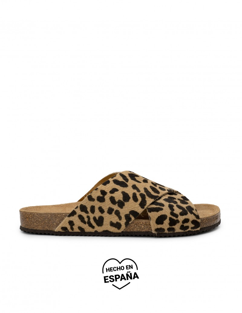 Sandalias Bio Leopardo Tiras Cruzadas