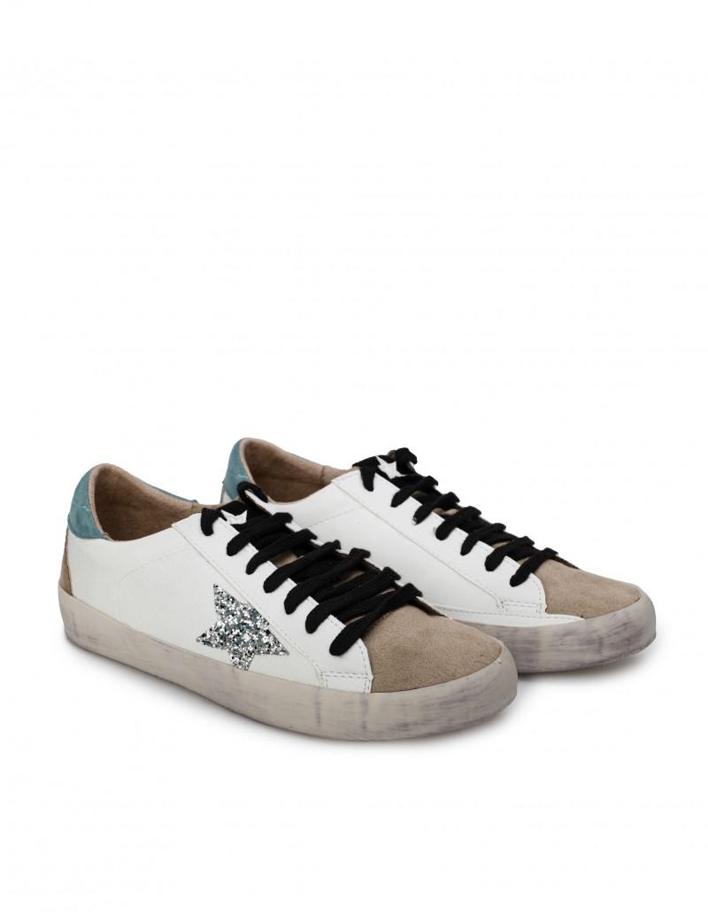 Zapatillas Blancas Estrella Purpurina