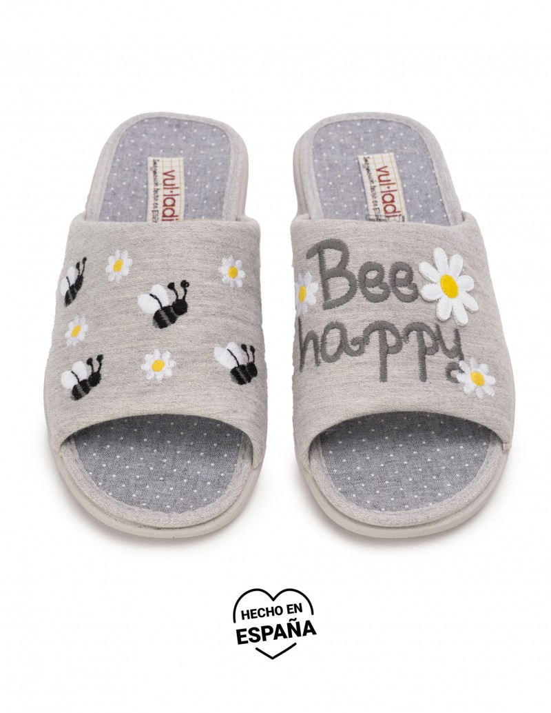Zapatillas Casa Abiertas Bee Happy Gris
