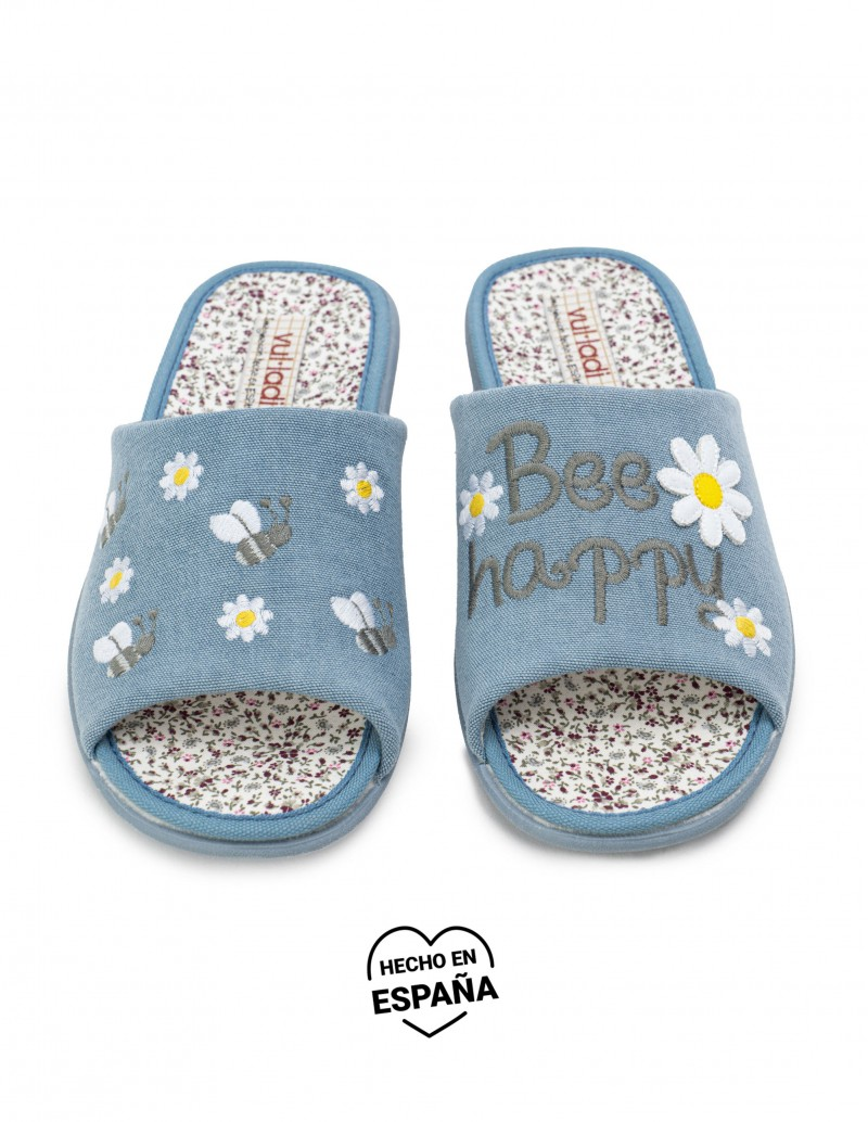 Zapatillas Casa Abiertas Bee Happy Denim