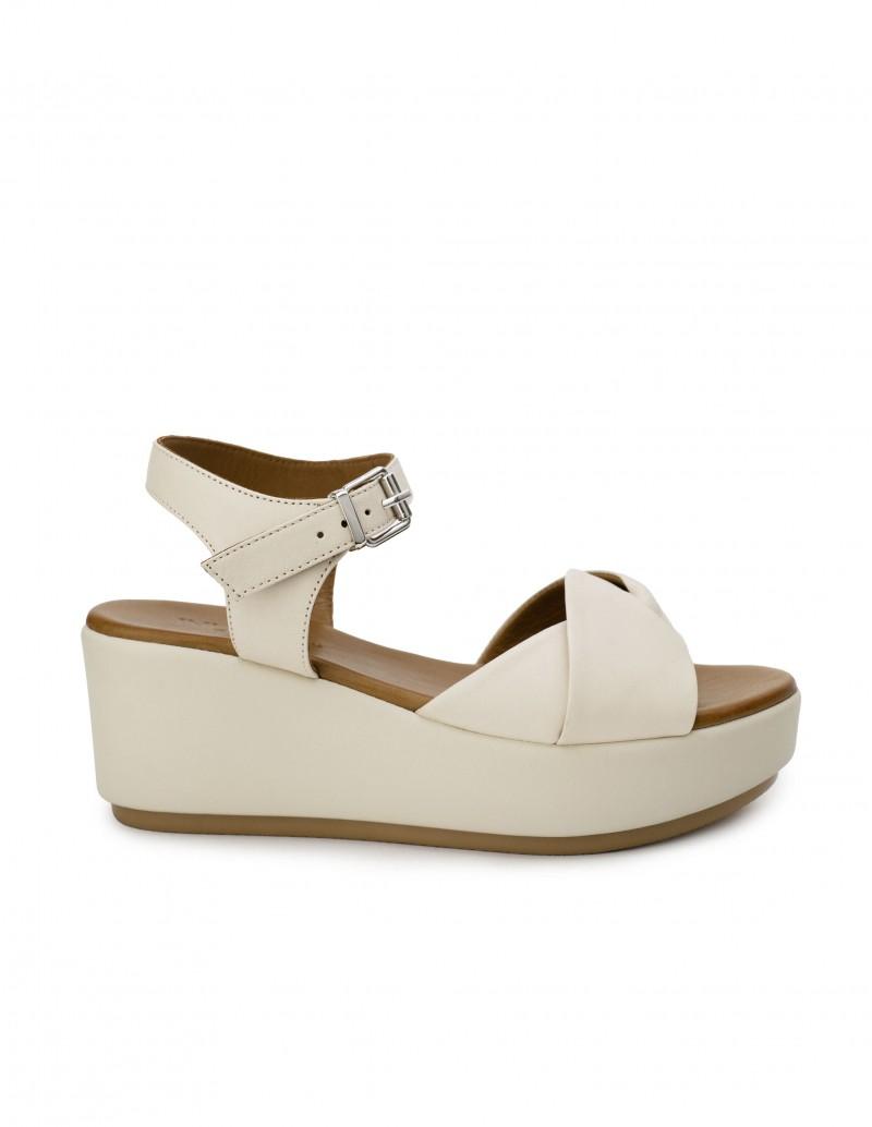 Sandalias Cuña Piel Blancas