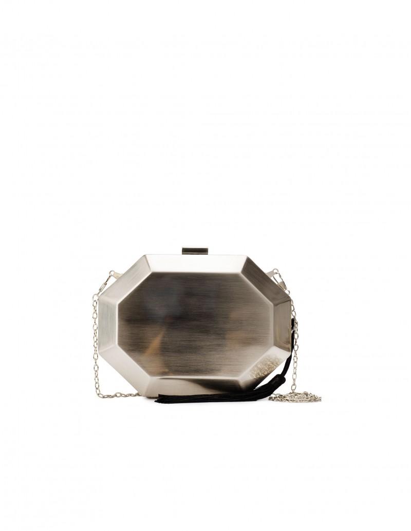 Clutch Geométrico Metalizado Plata