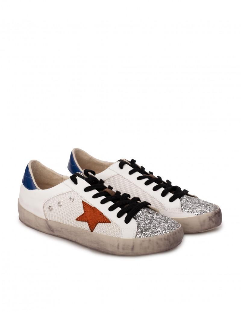 Zapatillas Blancas Estrella Naranja