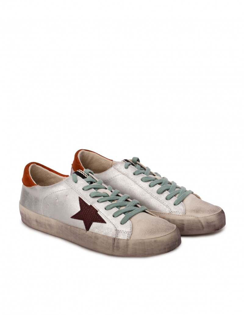 Zapatillas Plateadas Estrella Lateral