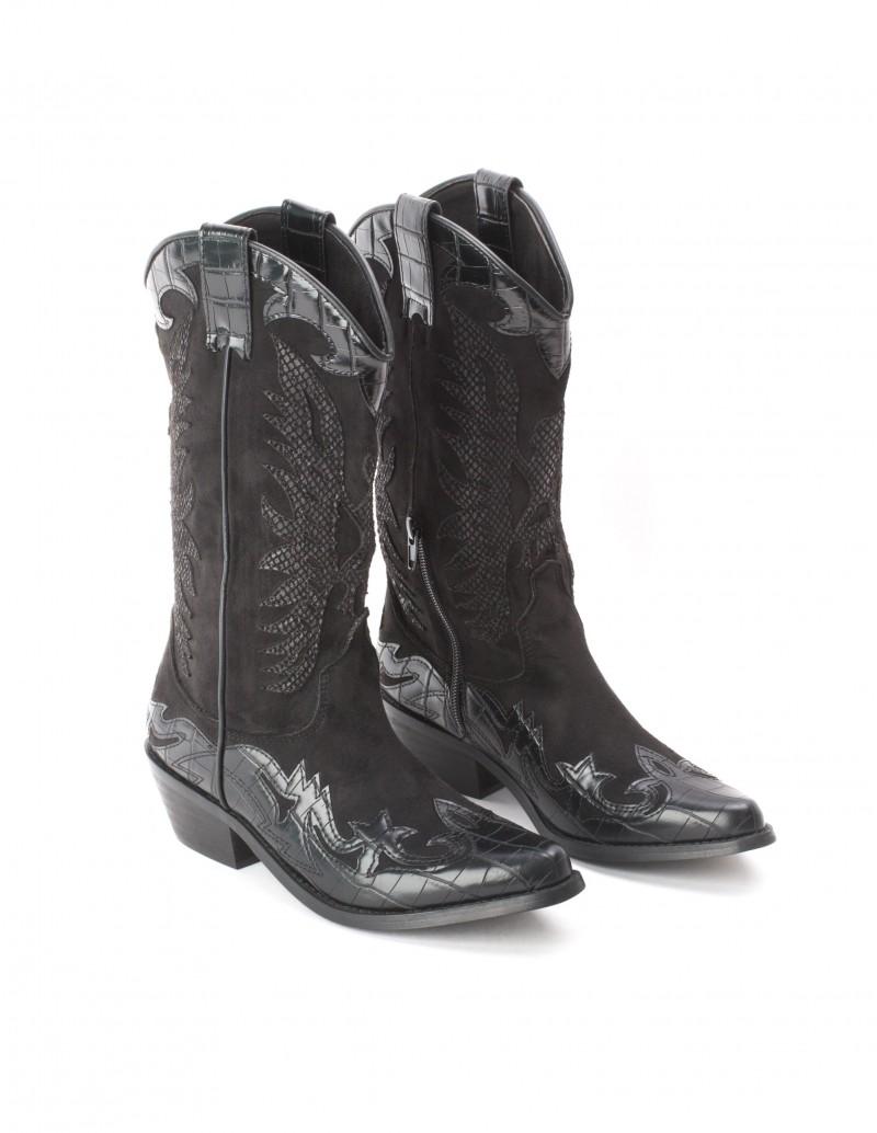 botas vaqueras negras mujer