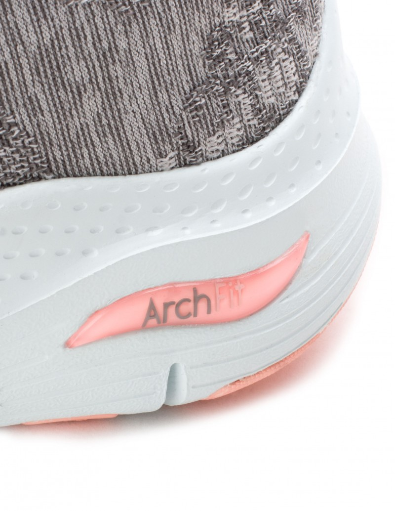 Skechers gris mujer arch fit comfy wave