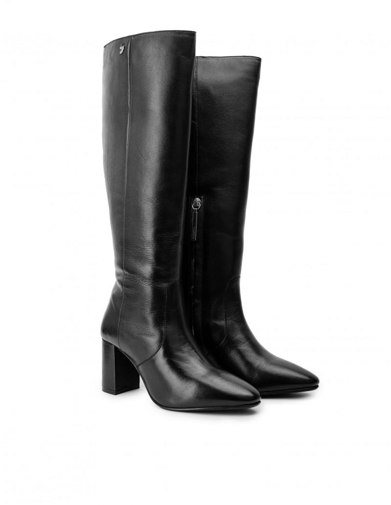 botas altas tacon negras