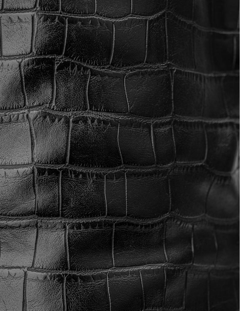 Botas Negras Piel efecto cocodrilo