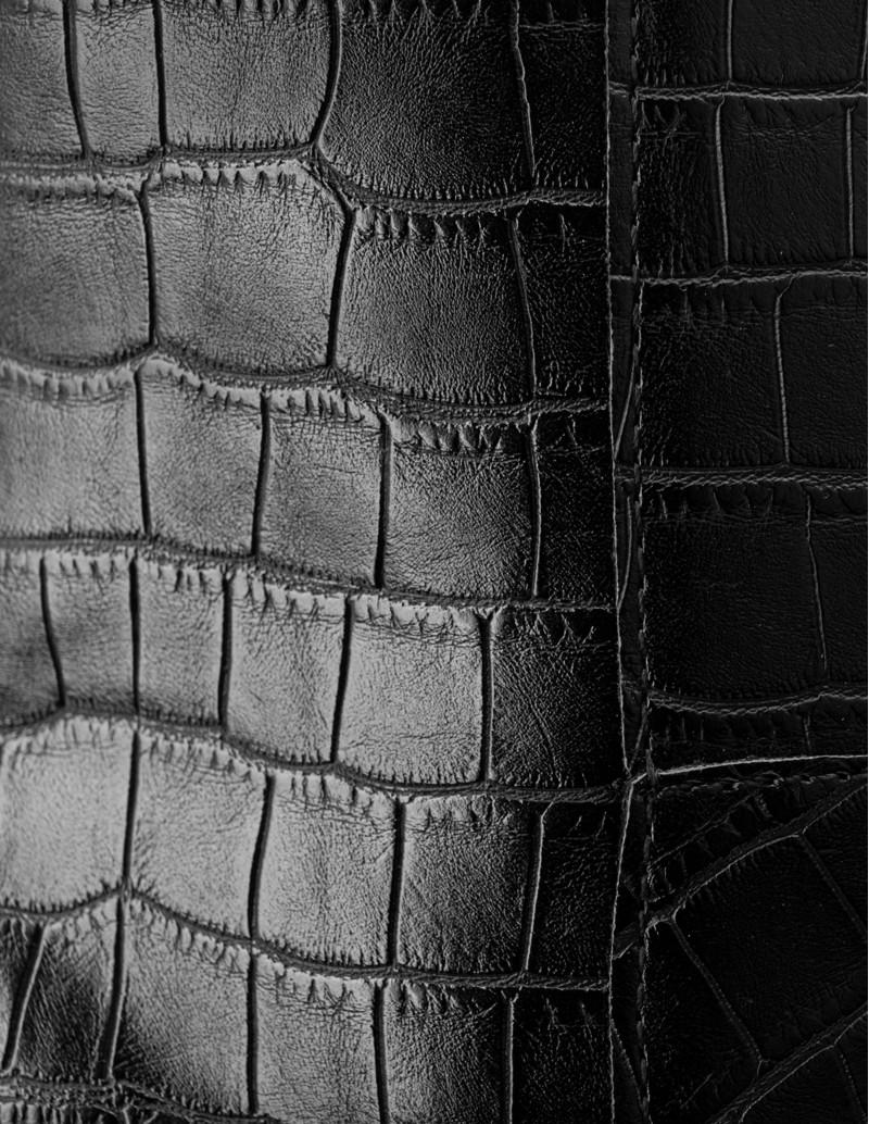 botin negro piel efecto cocodrilo