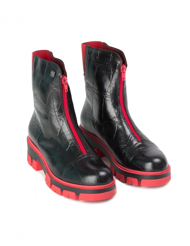 botas cremallera delantera roja
