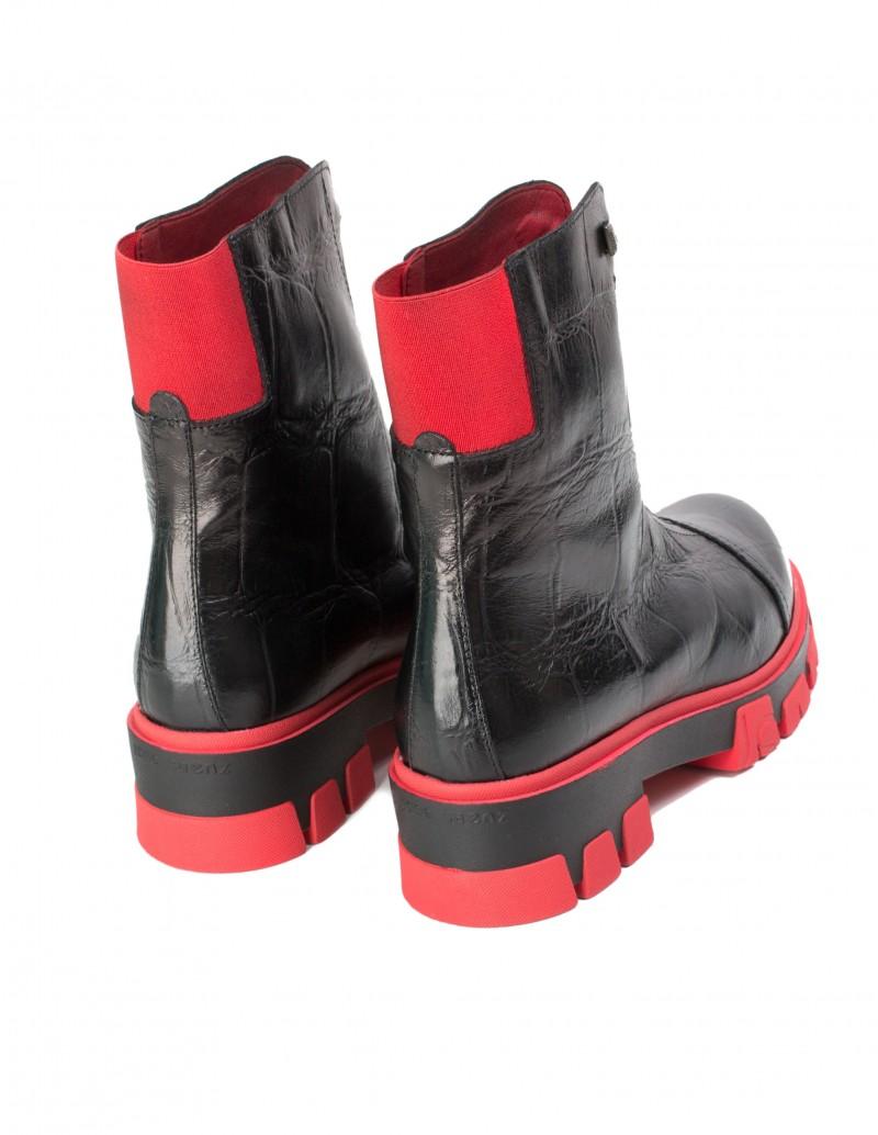 botas suela track cremallera roja