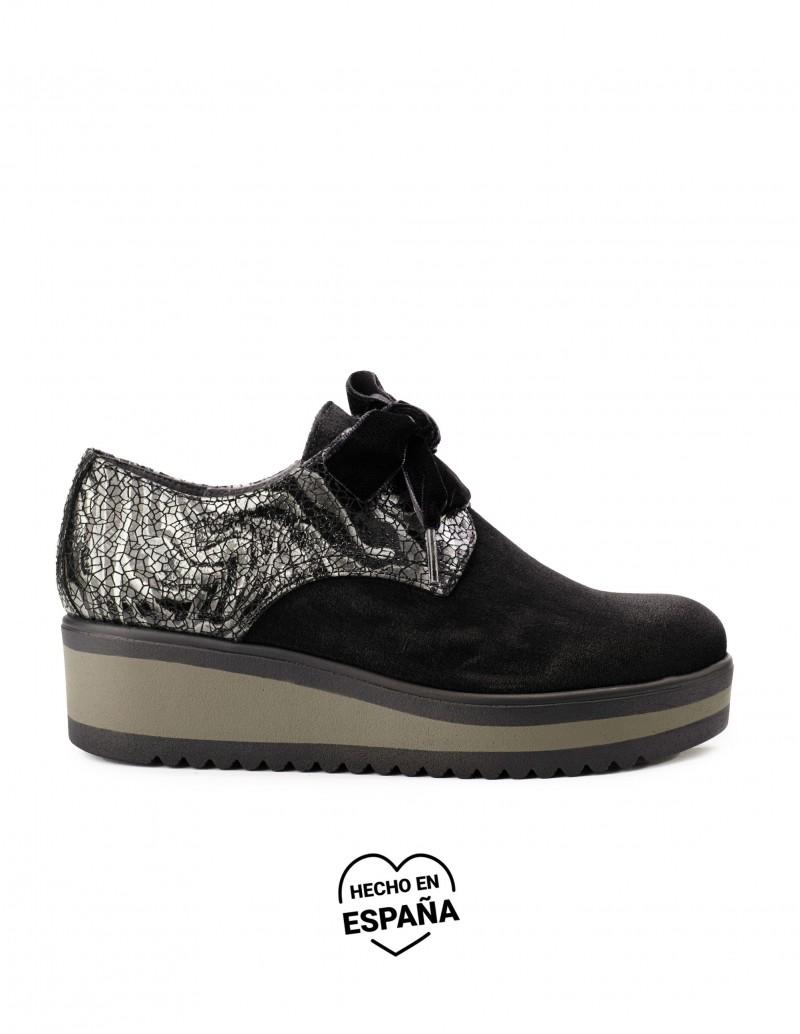 SALONISSIMOS Zapatos Cordones Cuña Lazo Negro