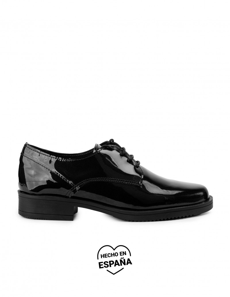 Zapatos Cordones Charol Negros