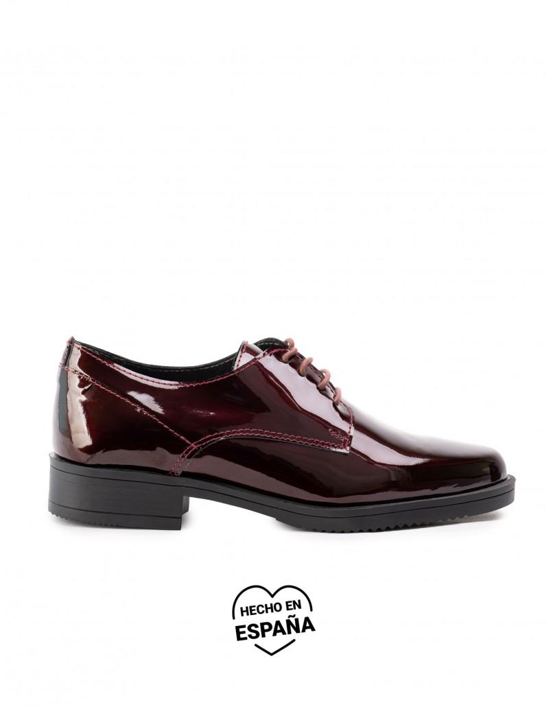 Zapatos Cordones Charol Granate