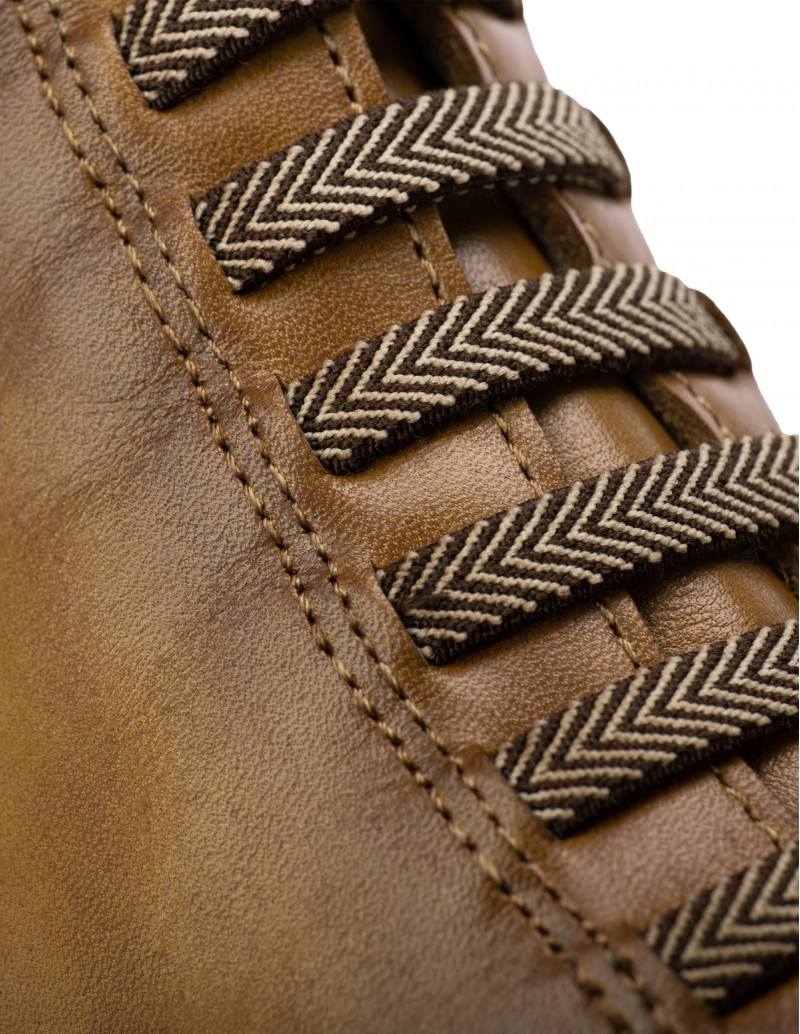 botines piel marrón cordones elásticos