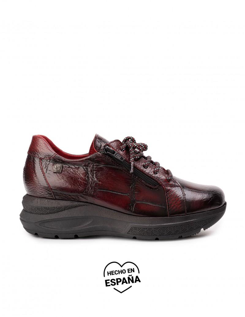 Zapatos Cordones Plataforma Piel Burdeos