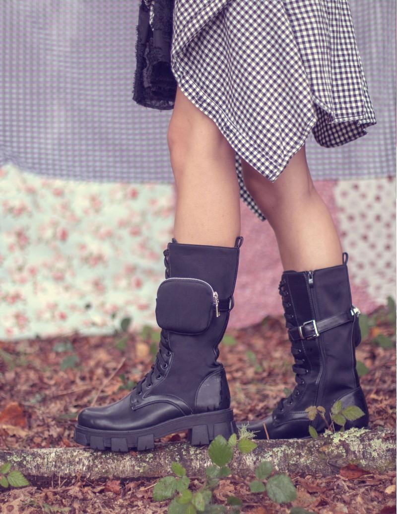 botas bolsillo altas negras