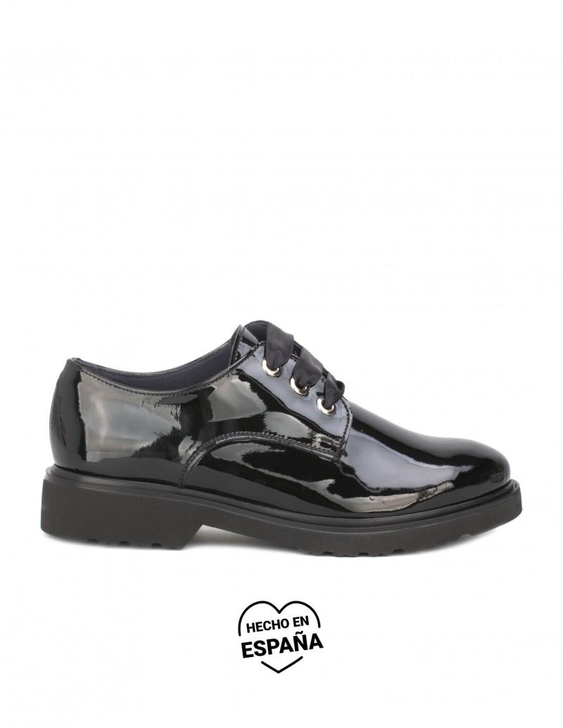 NATURE Zapatos Cordones Charol Negros
