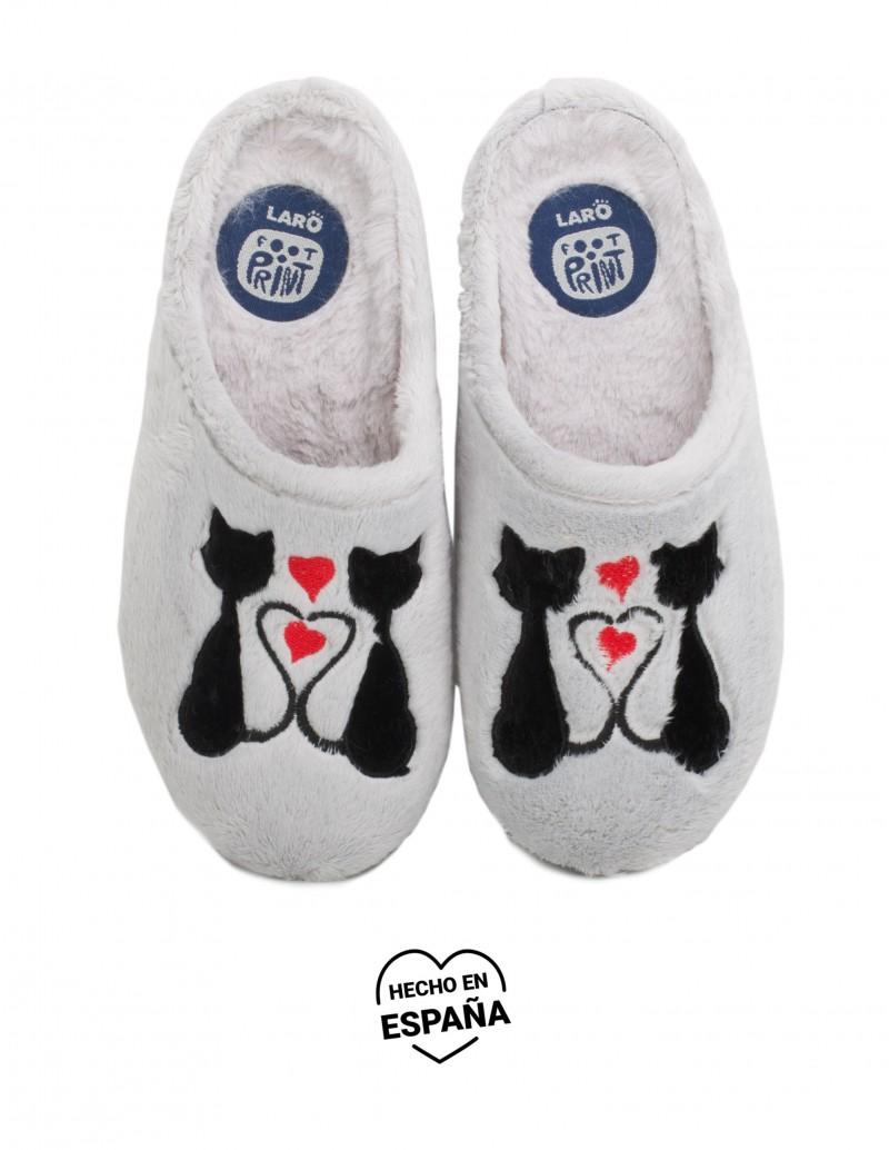 Zapatillas Casa Pelo Gris Gatos