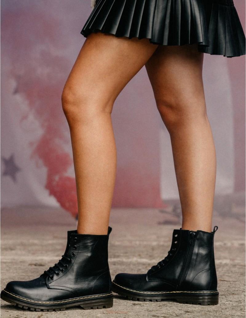 Botas Militares Negras Mujer