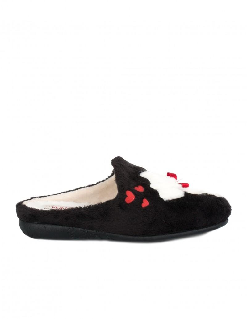 Zapatillas Casa Mujer Perro Negras