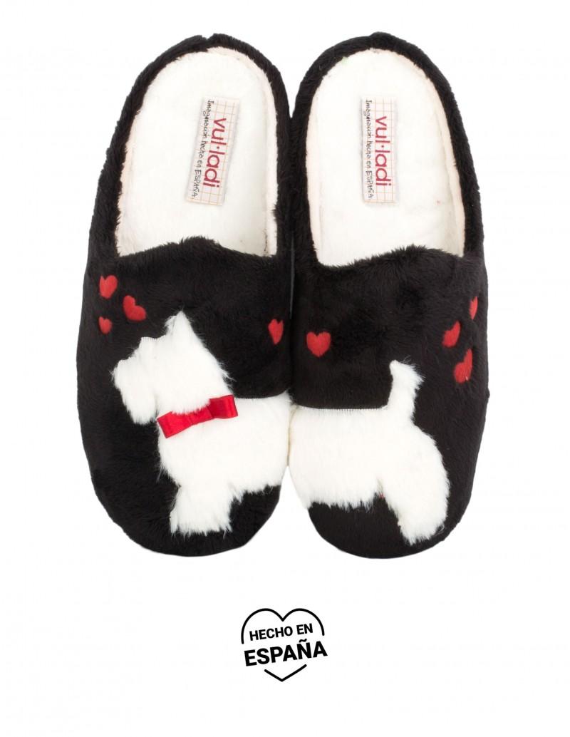 VULLADI Zapatillas Casa Perro Negras