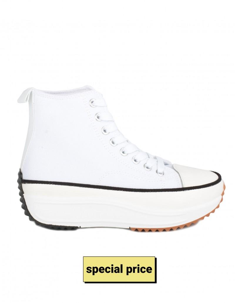 Zapatillas Altas Plataforma Moldeada Blancas