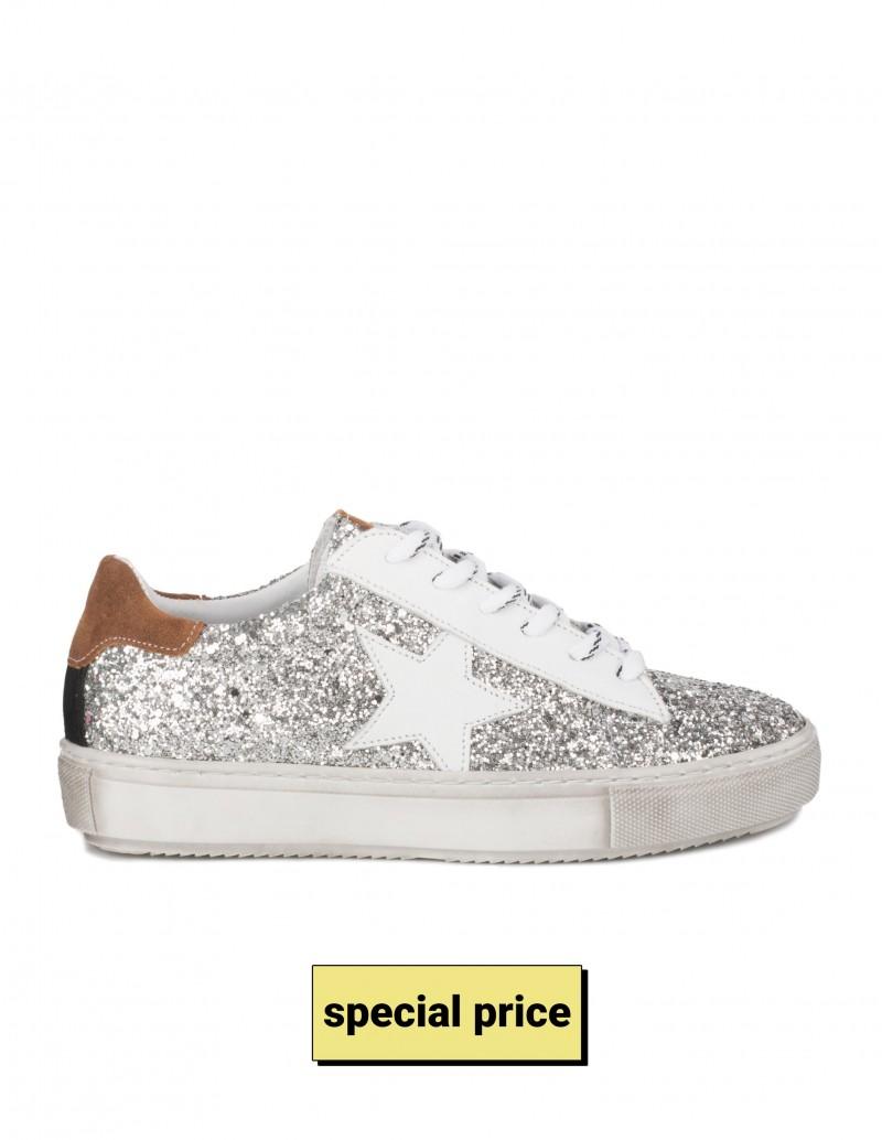 Zapatillas Estrella Glitter Plata