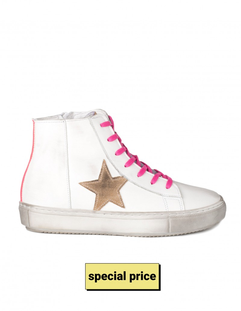 Zapatillas Altas Estrella Piel Blancas
