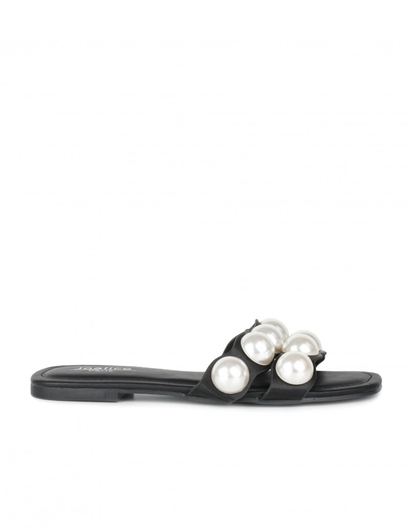 sandalias pala negras perlas