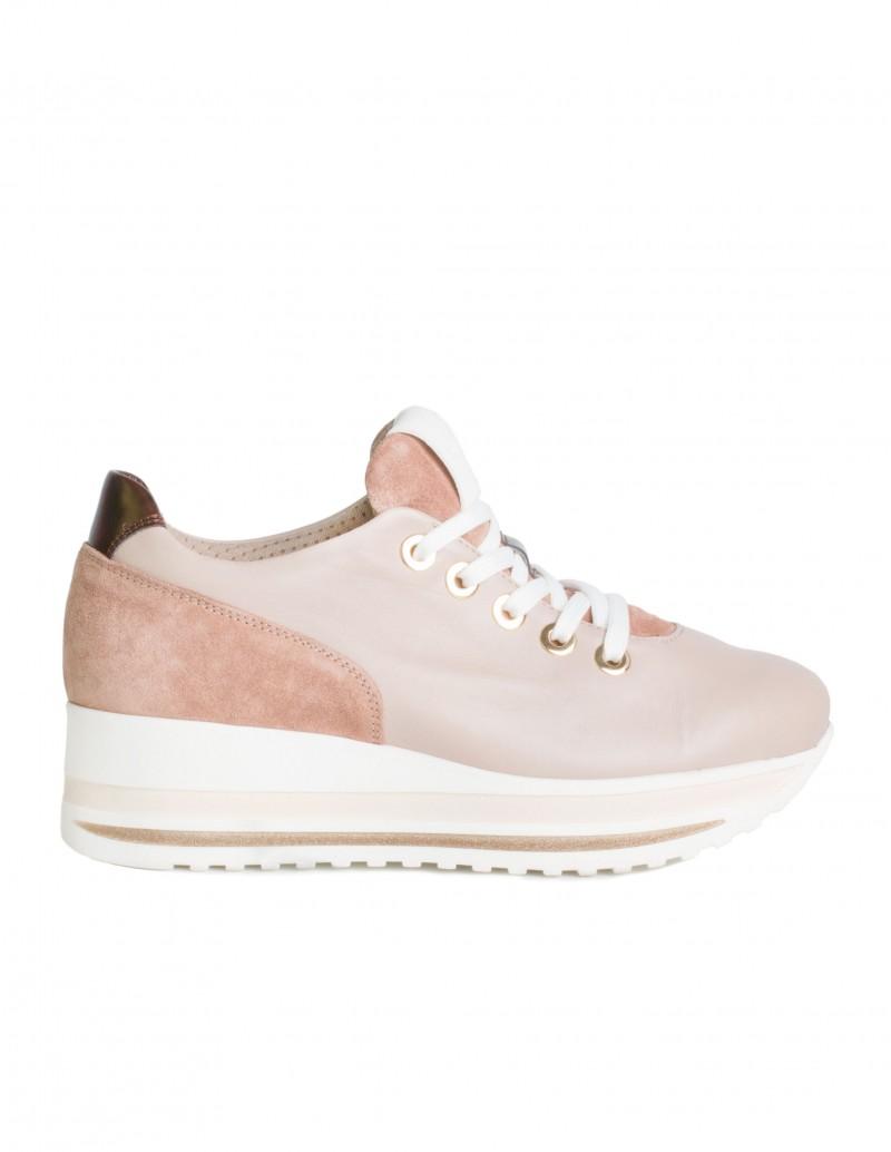 Zapatos Deportivos Plataforma Piel Beige
