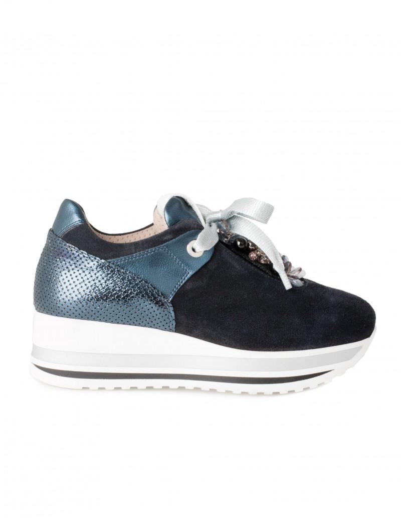 Zapatos Deportivos Plataforma Azul Abalorios