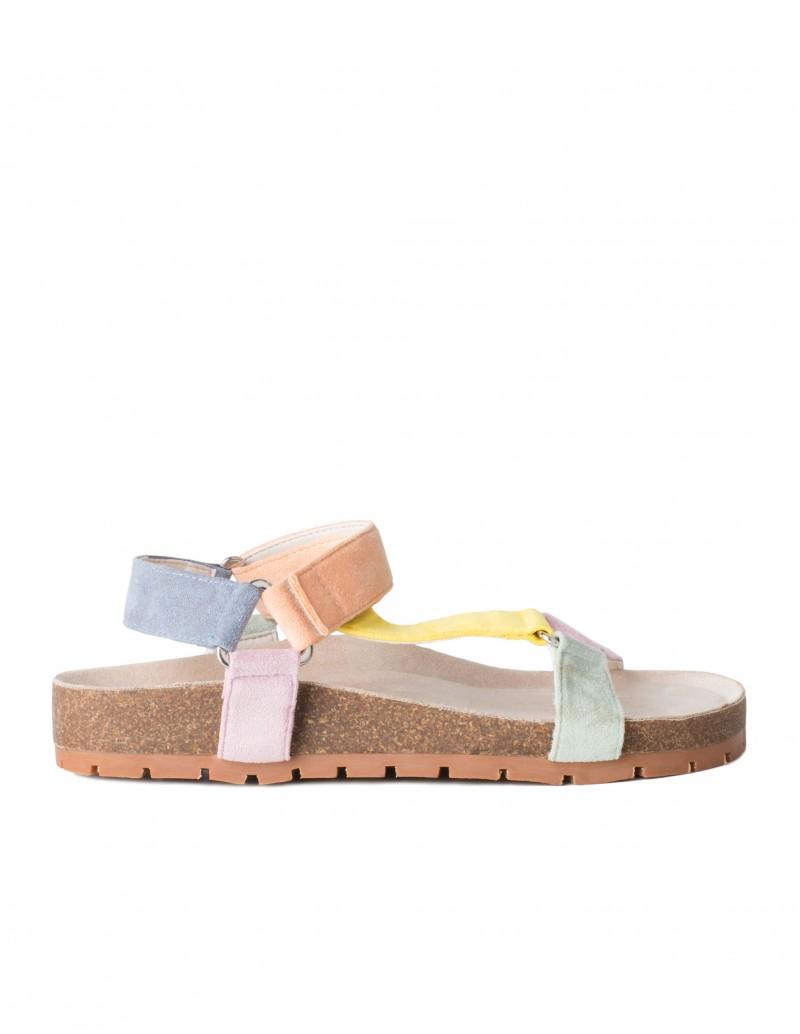 Sandalias Corcho Tiras Velcro Pastel