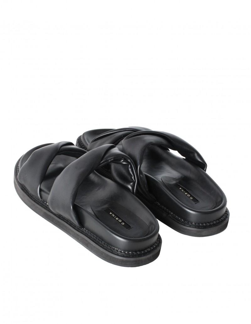Sandalias Acolchadas 2 Tiras Negras