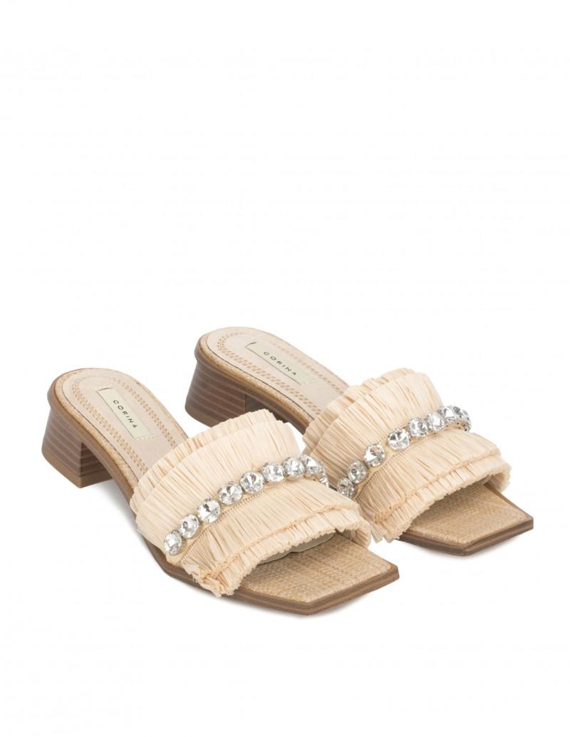 Sandalias Pala Flecos Pedrería Mujer