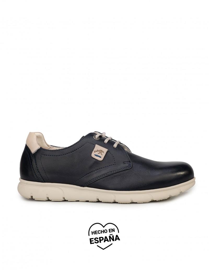 FLUCHOS Zapatos Cordones Piel Azul Suela Goma