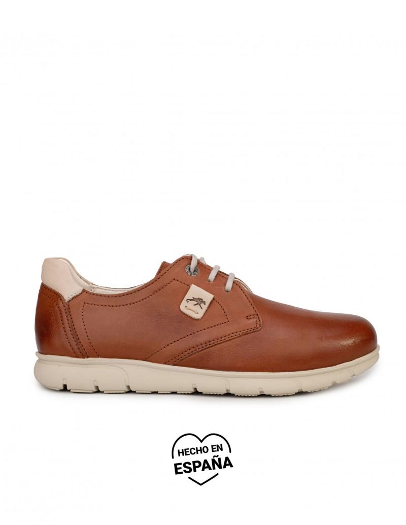 FLUCHOS Zapatos Cordones Piel Marrón Suela Goma