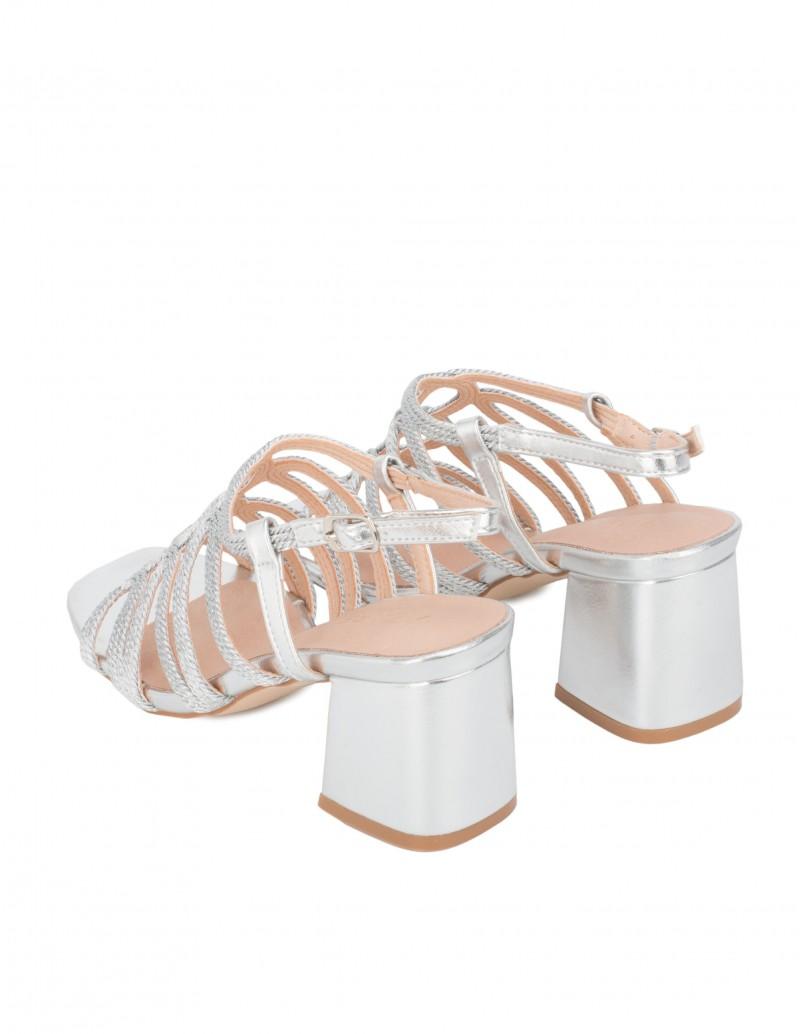 Sandalias Plateadas Tacón Cuadrado