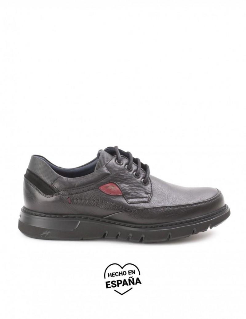 FLUCHOS Zapatos Piel Cordones Bordon Negro