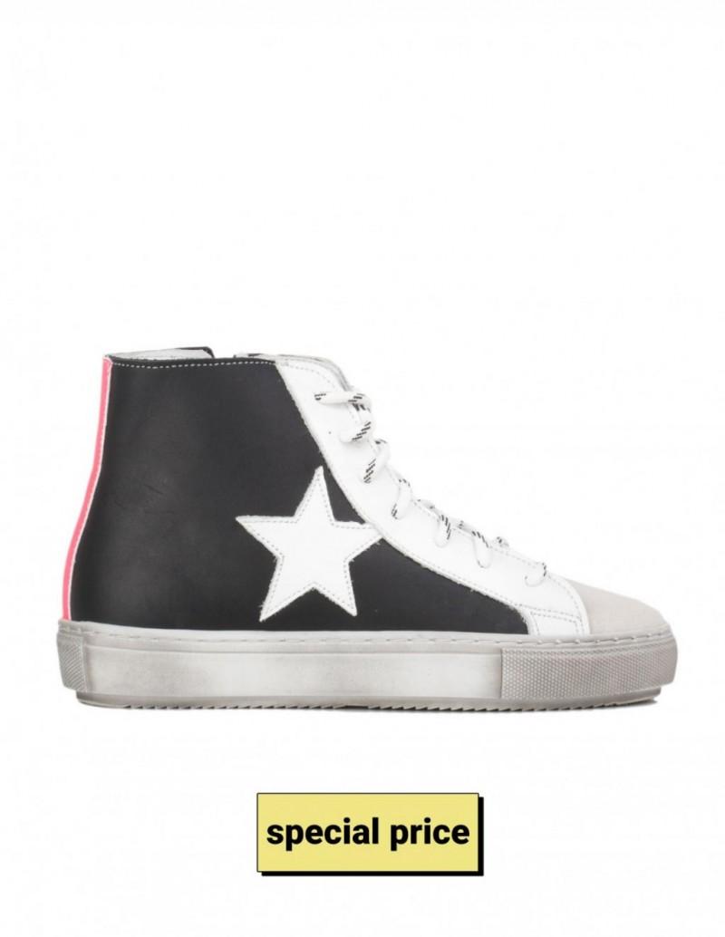 Zapatillas Altas Estrella Piel Negras