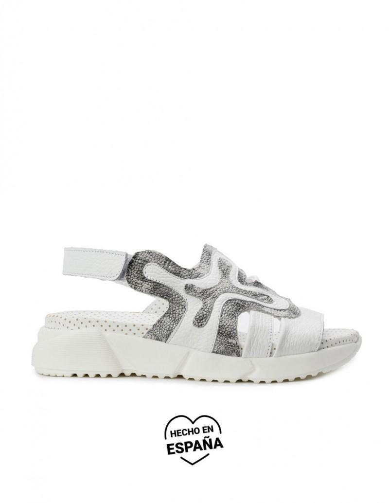 Sandalias Bio Velcro Piel Blancas