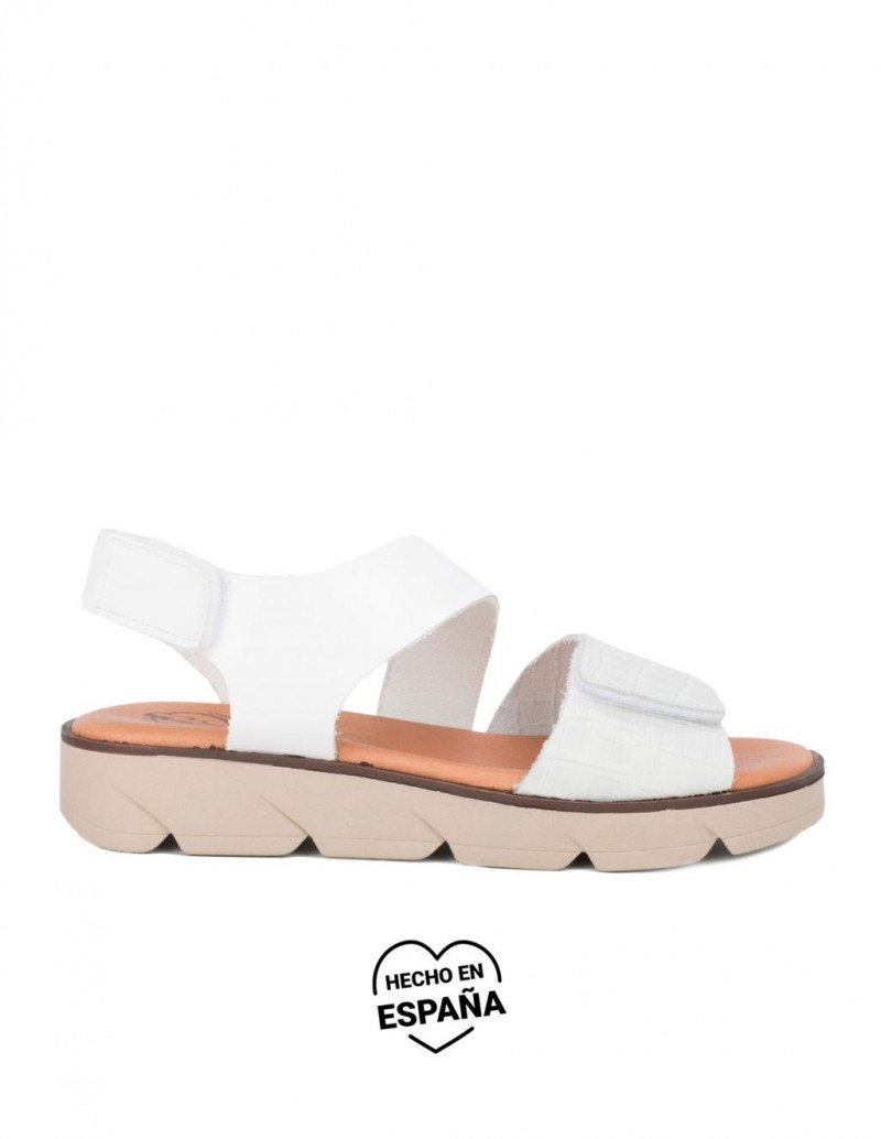 Sandalias Velcro Piel Blancas PERA LIMONERA